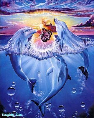 Les dauphin dans la mer - Dauphin dessin couleur ...
